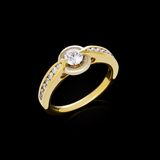 Gold ring with diamonds Royalty Free Stock Images