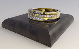Gold ring with diamonds Stock Image