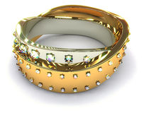 Gold ring with diamonds  #2 Royalty Free Stock Image