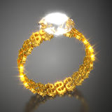 Gold Ring Dollars and Diamond Stock Images