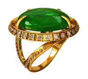 Gold ring with emerald Stock Photos