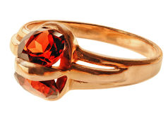 Gold ring with garnet Royalty Free Stock Photography