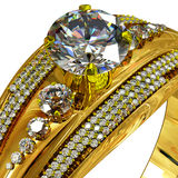 Gold ring with gem. Cropped shot of macro luxury jewellery. Royalty Free Stock Images