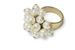 Gold ring with glittering pearls Stock Photography