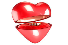 Gold Ring in Heart Box Stock Photo