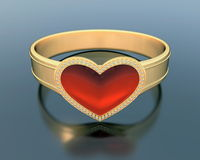 Gold ring with a heart shape ruby Stock Photos