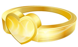 Gold ring with heart Royalty Free Stock Photography