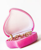 Gold Ring In A Box Heart Stock Photo