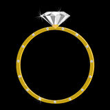 Gold ring with one large diamond and many small. Expensive gold ring with one large diamondand  many small Stock Images
