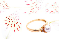 Gold ring with a pearl. Royalty Free Stock Photo