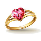 Gold ring with pink heart gemstone Royalty Free Stock Photo