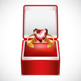 Gold ring with pink heart gemstone in Velvet Box Stock Photos