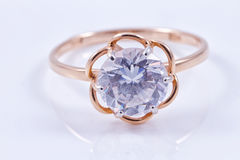 Gold ring with precious stone Stock Images
