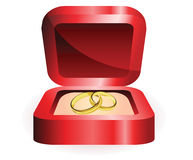 Gold ring in red box Royalty Free Stock Image