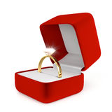 Gold Ring with Red Box Royalty Free Stock Image
