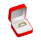 Gold ring  in a red box Royalty Free Stock Images