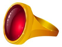 Gold ring with red gem Stock Images