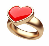Gold ring with red heart 3D. Love concept Stock Photography