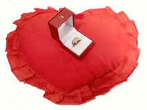 Gold ring on the red pillow Stock Photos