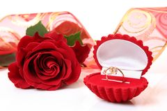 Gold ring and rose Royalty Free Stock Image