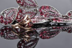 Gold ring with a ruby in the background of fashion jewelry Stock Images