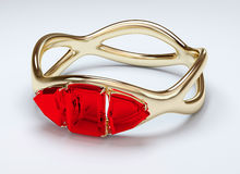 Gold ring with ruby stock illustration
