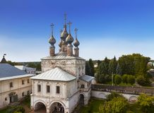Gold ring of Russia. City Yuryev-Polsky. Gate Church of St. John the Evangelist at the Archangel Michael Monastery stock images
