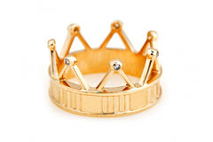 Gold ring in the shape of a  crown Stock Photo