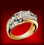 Gold ring with some diamonds. Vector Stock Photo