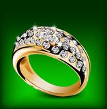 Gold ring with some diamonds. Vector Stock Image