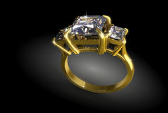 Gold Ring with Three Diamonds Royalty Free Stock Photos