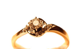 Gold Ring With Diamonds Stock Photos