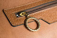 Gold Ring Zip of Leather Bag Stock Images
