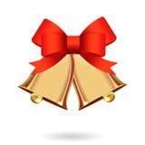 Gold ringing Christmas bells Stock Photo
