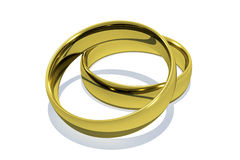 Gold Rings. 3D shining pair Gold Rings Stock Photos