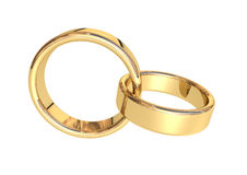 Gold rings. Two wedding rings on a white background vector illustration