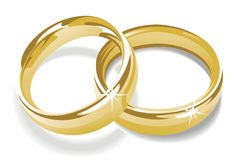 Gold rings. Gold wedding rings vector illustration Stock Images