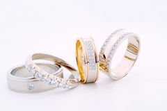 Gold rings. Beautiful gold rings with brilliants Royalty Free Stock Photo