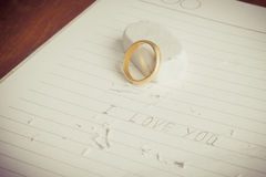 Gold rings on book. Love never fades Royalty Free Stock Image