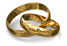 Gold rings (clipping path included) Stock Photos