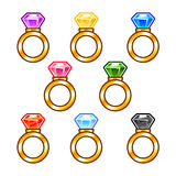 Gold rings with colorful diamonds stock illustration