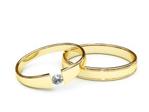 Gold rings with diamond Royalty Free Stock Images