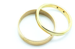 Gold rings with diamonds Stock Image