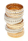 Five gold rings  stacked  Stock Photos