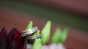 Gold rings, flowers wedding bouquet stock video
