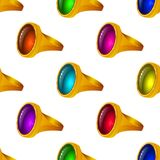 Gold rings with gems, seamless Royalty Free Stock Photos