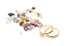 Gold Rings with Gemstones Stock Photo