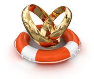 Gold rings and Lifebuoy (clipping path included) Royalty Free Stock Photography