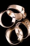 Gold rings macro Stock Photography