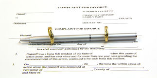 gold rings, pen and divorce paper Stock Photo
